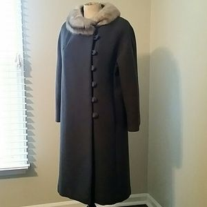 Vintage 60's Gray Wool Coat with Fur Collar